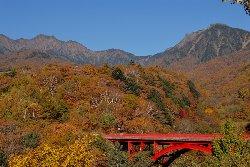 上流の赤い橋 東沢大橋