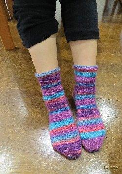 輪針で編む靴下