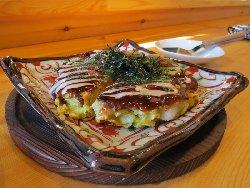 関西風 餅明太お好み焼き