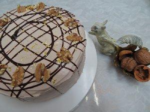 クルミたっぷり生チョコレートケーキ