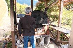 金山山荘の石窯ピザ